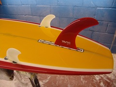 Will's NS Surfboard with Rainbow single fin and FCS sidebites.