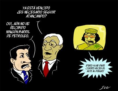 De izquierda a Derecha: Nicolas Zarcozy, Amr Musa, Muamar el Gadafi