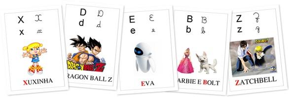 Exibir Alfabeto dos Personagens Infantis