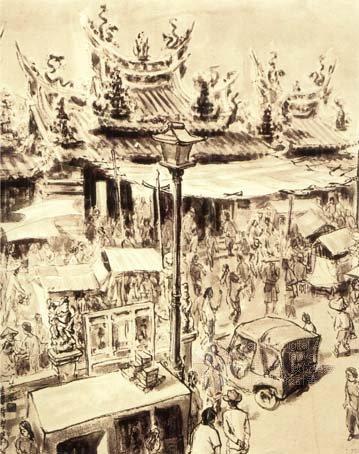 楊英風 繪(1957)。[北港朝天宮(MATSU-TEMPLE AT BEI-KANG)]。《數位典藏聯合目錄》