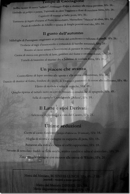 menù del ristorante dentro al castello