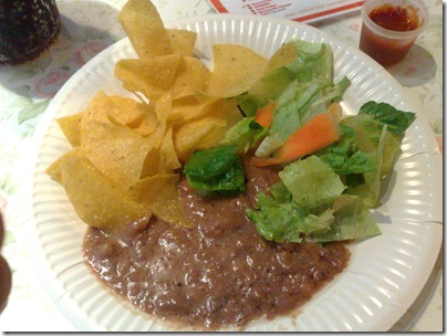 Tortilla Chips with Salsa and Refried beans