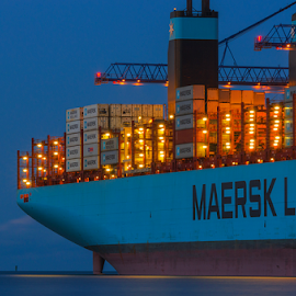 Maersk by Aneta Helwich - Transportation Boats ( container, ship, transportation, nightscape,  )