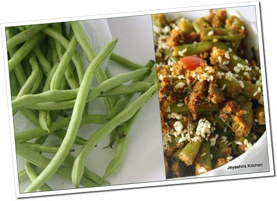 beans sessame seeds currysnakegourd kootu