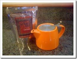 orange teapot and rooibos tea