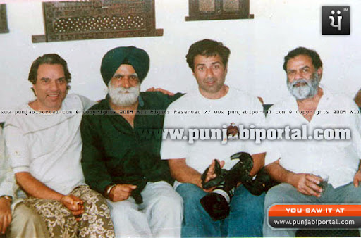 Dharmendra Deol, Ajit Deol, Sunny Deol with the Author
