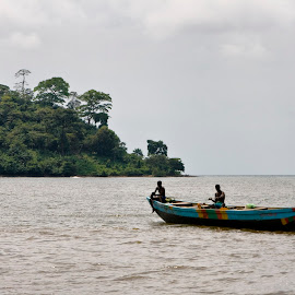 Fishers by Barbara Sajnog - Transportation Boats ( cameroon, down beach, fishing, fisher, limbe, africa, boat )