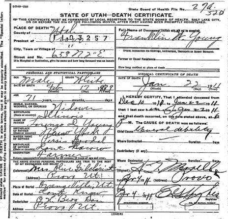 Young Franklin Wheeler Death Certificate