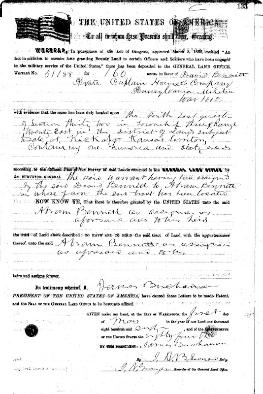 Bennett Abram - David BLM Land Warrant Doniphan Co Kansas 1 May 1860b