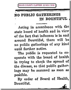 Flu No Gatherings 22 Nov 1918 Davis County Clipper.jpg