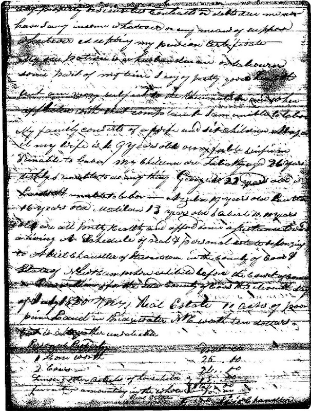 Chandler Abial Revolutionary War Pension - genealogy