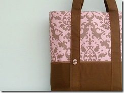 Classic Canvas Tote Bag in Pink and Brown Damask from MondayMorningStudios