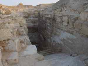 Photo courtesy Dr. Michel Baud. This passageway descends beneath the pyramid of Djedefre. It leads to the pharaoh's funerary chamber. The pyramid was quarried in Roman times and little of it is left standing today.