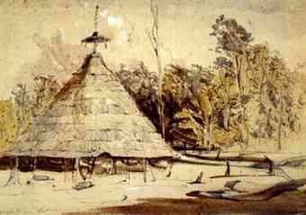 Watercolor (made ca. 1842) of round Maopityan house in Guyana.