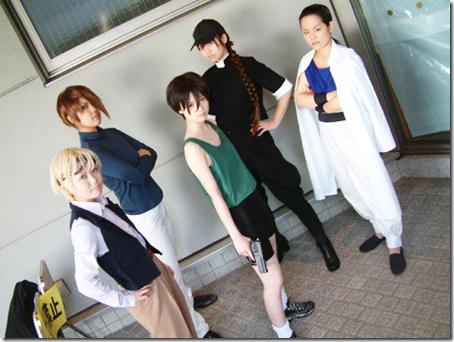 gundam wing cosplay - quatre raberba winner, trowa barton, heero yuy, duo maxwell, and chang wufei