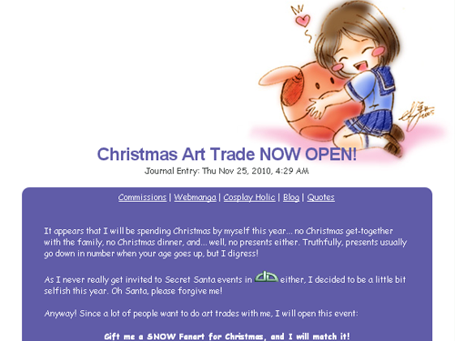 kurohiko's christmas art trade contest in deviant art 2010