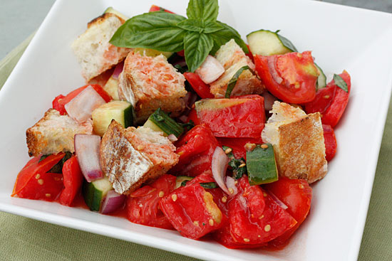 panzanella is a tuscan bread salad which combines day old bread ...