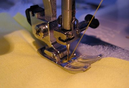 sew lining to wadding