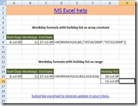 workday function, microsoft Excel