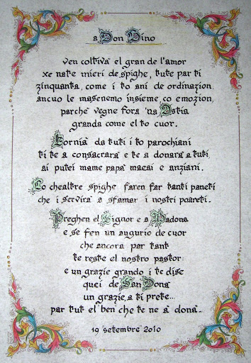 poesia in dialetto per il 50° di ordinazione di don Gino Perin