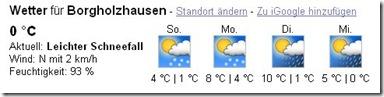 Wettervorhersage Borgholzhausen bei Google
