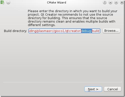 Qt Creator: CMake Wizard (1 of 2)