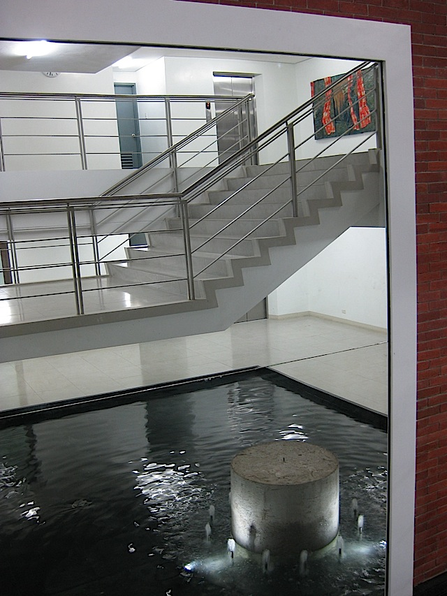stairs, elevator and interior water feature at the new Rizal Library