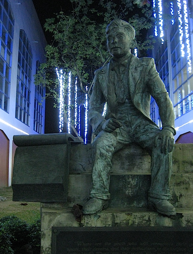 statue of the young Jose Rizal at the Ateneo de Manila High School