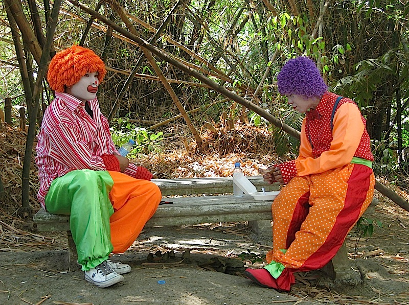 two clowns eating lunch under a bamboo grove