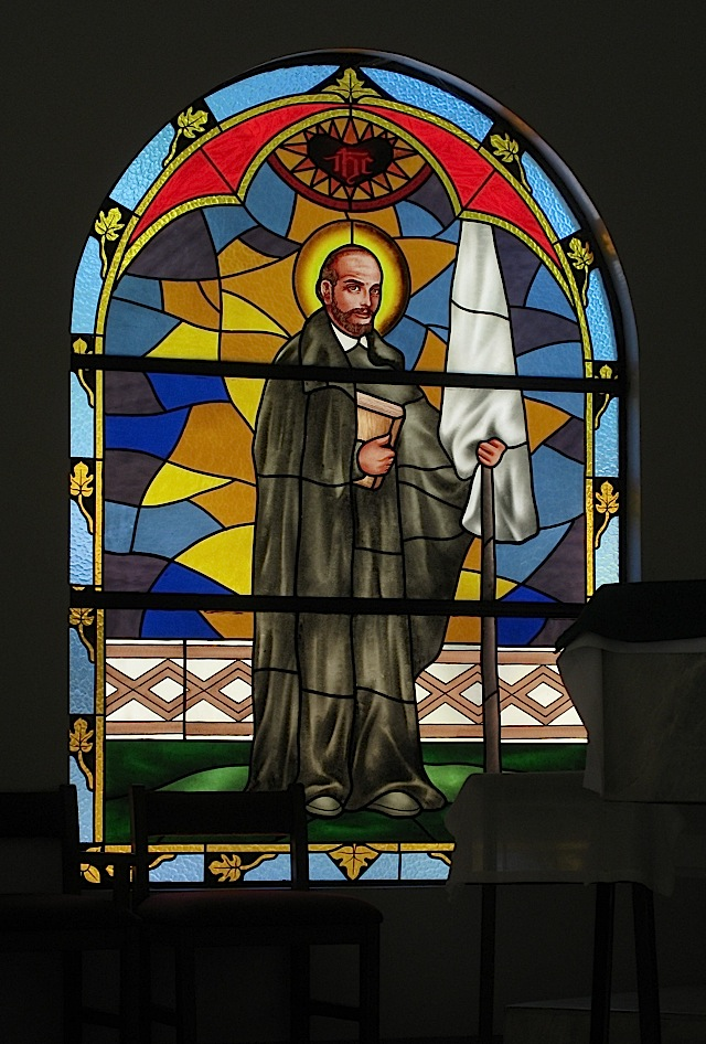 stained glass window depicting St. Ignatius of Loyola at the chapel of the Loyola Retreat House in Angono, Rizal