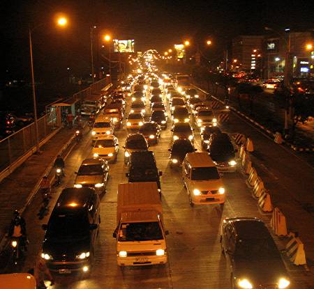 evening traffic along Katipunan Avenue, Quezon City