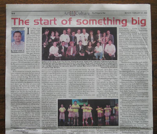 Dogberry: Exie Abola's column in the February 23, 2009 issue of The Philippine Star