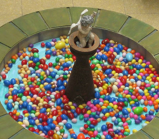 fountain of plastic Easter eggs