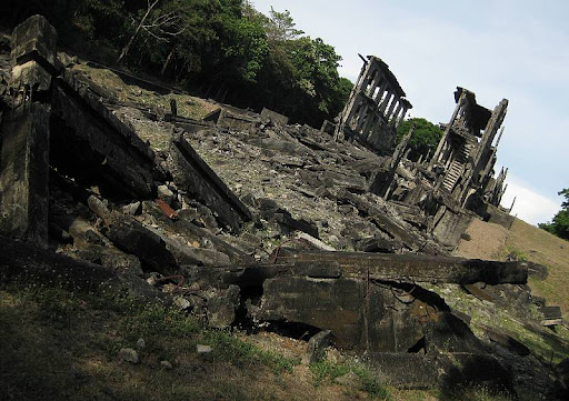 Topside barracks, more popularly known as the Mile Long barracks, ruins in Corregidor Island