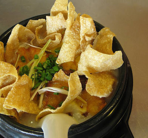 North Park's congee with crystal prawns and fried wonton wrappers