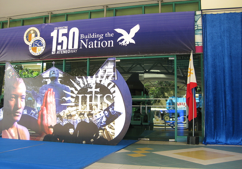 Padre Faura Street entrance of Robinsons Manila decorated for the unveiling of a marker explaining Ateneo de Manila's history in that location