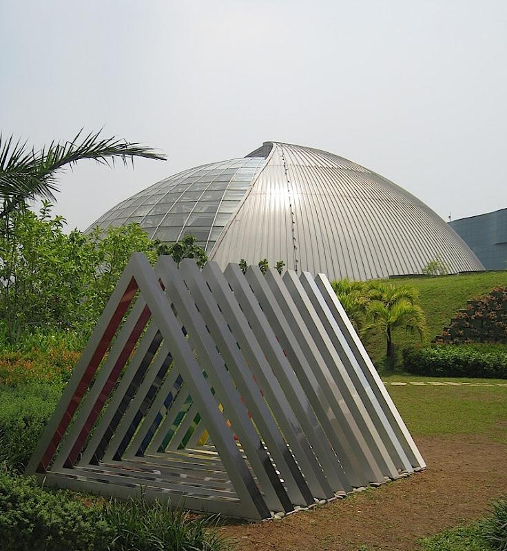 triangular rainbow sculpture and Sky Dome at SM City North EDSA's Sky Garden