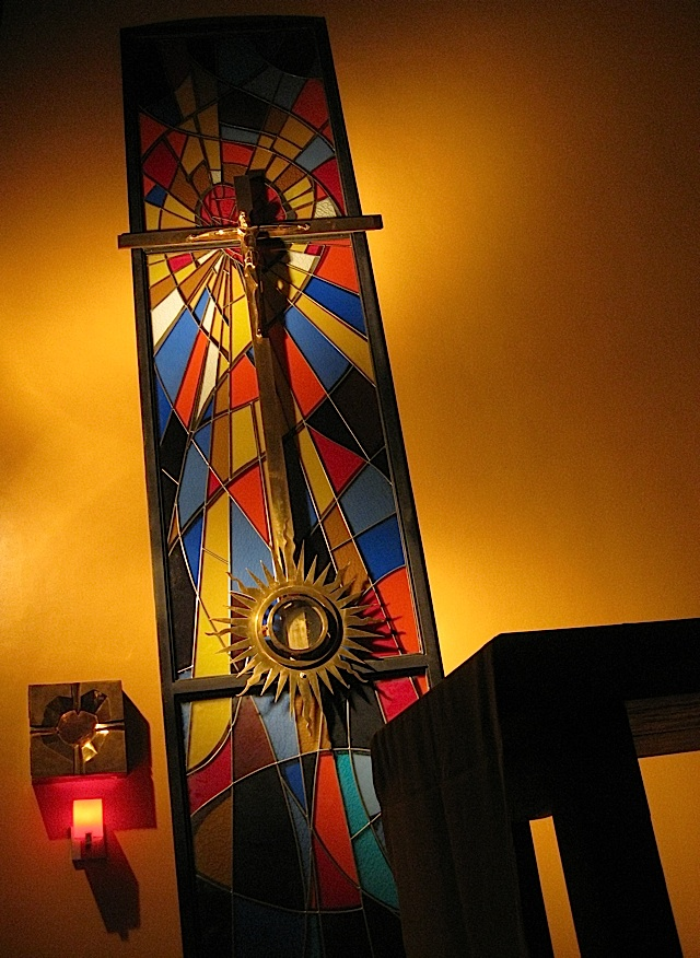 crucifix and monstrance in the Sacred Heart Chapel of the Ateneo Church of the Gesù