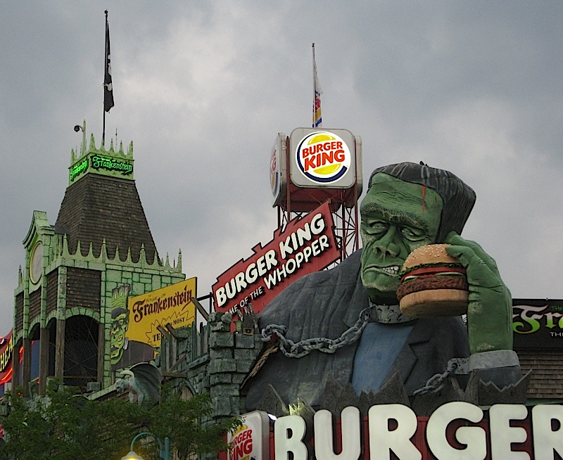 Frankenstein's monster selling Burger King at Niagara Falls