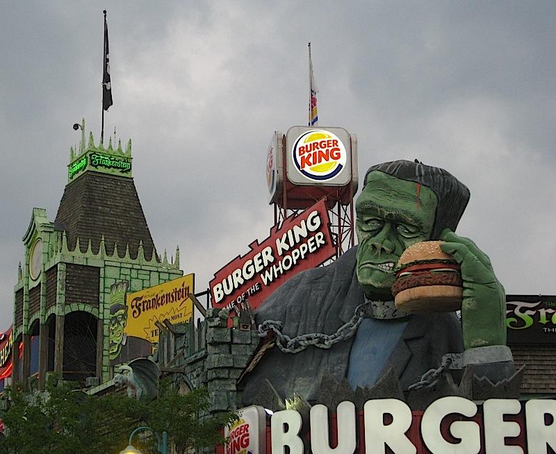 Frankenstein's monster selling Burger King at Niagara Falls