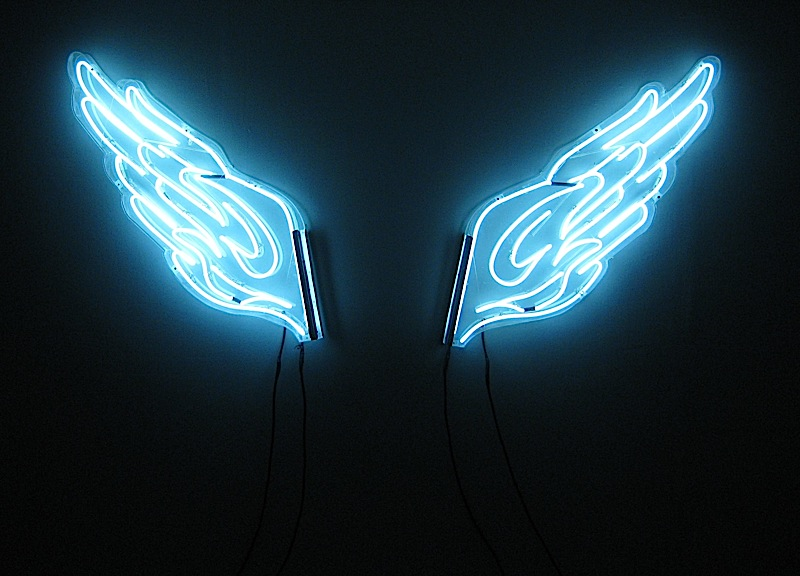 neon wings in Kawayan de Guia's exhibit titled 'Bored on the Fourth of July'