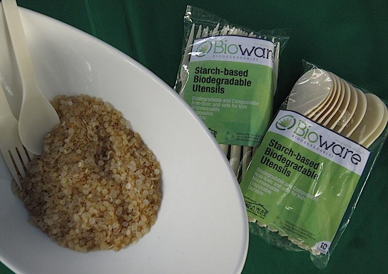 Bioware starch-based disposable, biodegradable tableware