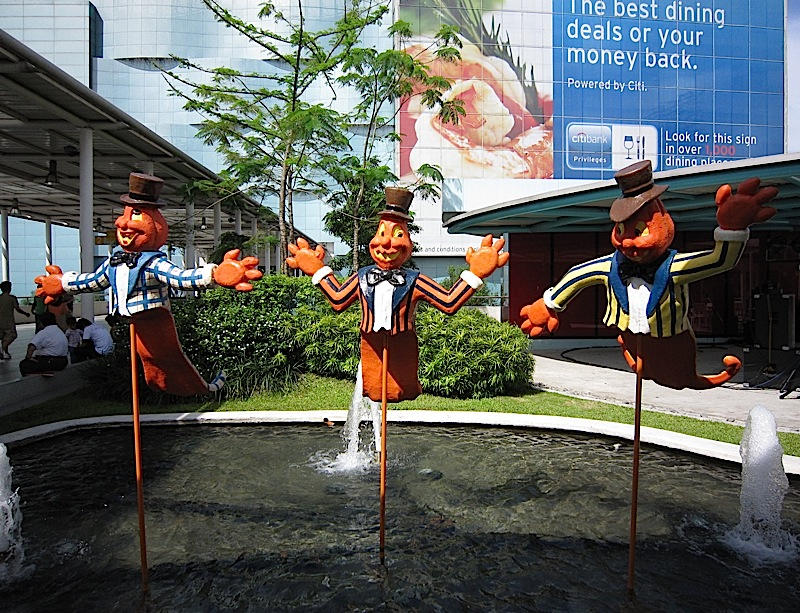 a trio of orange ghosts at SM City North EDSA mall