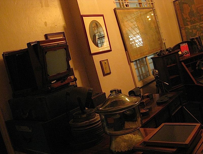 antique cameras on display at La Cocina de Tita Moning, the ancestral home of the Legarda clan
