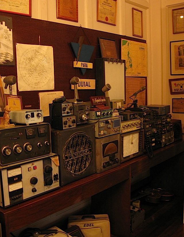 antique radio equipment on display at La Cocina de Tita Moning, the ancestral home of the Legarda clan