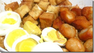 boiled eggs, fish balls, tofu and bean sprout topping, by 240baon