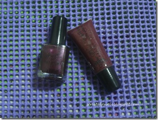 four east deep purple lip gloss and nail polish