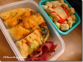 olive foccacia, majestic ham and salad bentos, by 240baon