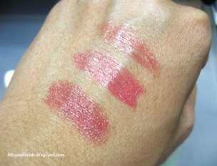 lip ice colored lip balm swatches in candy apple, sweet rose and pretty pink, by bitsandtreats