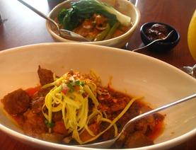 sentro garlicky adobo, vegetable kare kare and bagoong